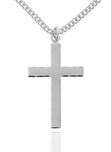 Heartland Store Men's Sterling Silver Etched Matte Cross with Lord's Prayer + 24 Inch Rhodium Plated Chain & Clasp