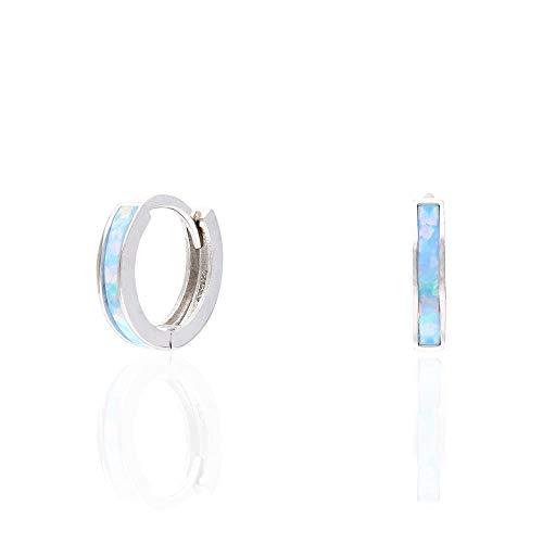 925 Sterling Silver 1-Stripe Simulated Fire Opal Huggie Hoop Earrings 0.4