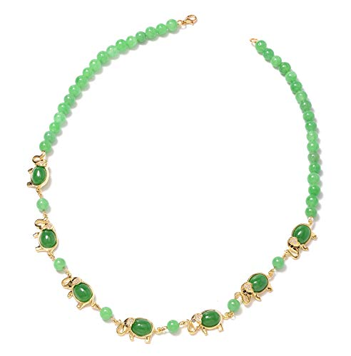 Bead Strand Necklace 925 Sterling Silver Vermeil Yellow Gold Green Jade White Zircon Gift Jewelry for Women Size 18