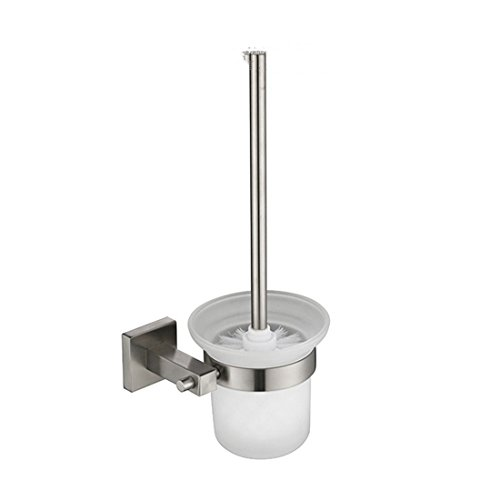 AiRobin-Contemporary 304 Stainless Steel Brushed Square Base Wall Mounted Toilet Brush Holder Bathroom Accessory