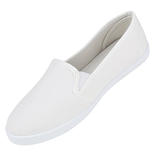Stiefelparadies Bequeme Damen Slipper Slip-Ons Sportliche Schuhe Flats Stoffschuhe Prints Glitzer Freizeitschuhe Flandell Weiss Total