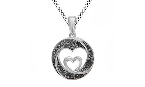 Round Cut Black Natural Diamond Double Heart Swirled Circle Pendant In 10K White Gold (1/8 - Pendant Heart Gold Necklace Circle
