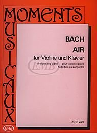 Bach JS Air on the G String from Orchestra Suite No 3 BWV 1068 for Violin and Piano - Tatrai, EMB