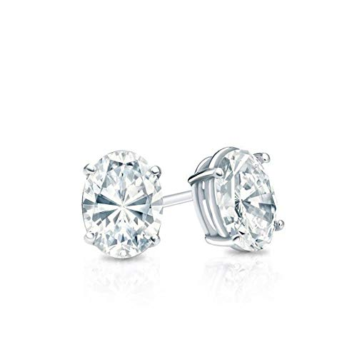 White Gold Diamond Solitaire Oval Cut 3.00 ct CZ Stud Earrings 14K(585) Hallmarked Screw Back, Color D, Clarity -