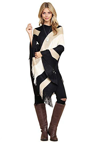 RIAH FASHION Color Block Stripe Fringe Shawl Wrap Knitted Poncho - Winter Soft V-Neck Tassel Long Pullover Sweater (Beige)