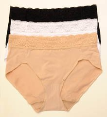 Bali No Lines No Slip Hipster with Lace 3 Pack Panty V406