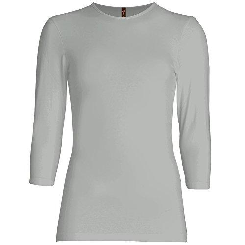 T-shirt Logo Sleeve Cap Womens - Esteez Womens 3/4 Sleeve Shirt Relaxed FIT EX801136 Polar Grey Large