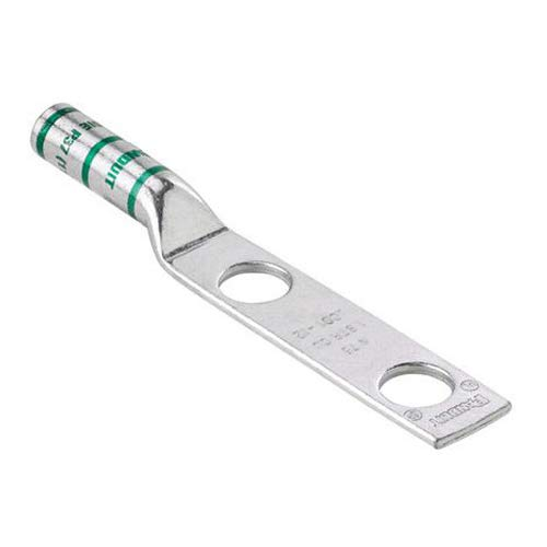 Panduit LCC600-12-6 Two-Hole Copper Compression Lug, Long Barrel, 600 kcmil Cable, 1/2-Inch Stud Hole, 1.75-Inch Hole Spacing