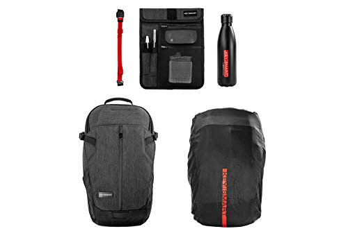 Black Heavy-duty Cordura Eco Fabric Water Resistant Business Travel Backpack for Men Women Fixsolve Nash 25L Laptop Backpack Fits 15.6 Inch Laptop and 10-inch Tablet