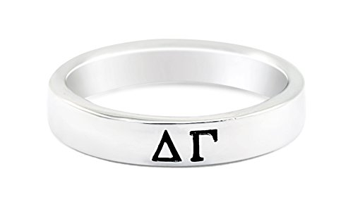 The Collegiate Standard Delta Gamma Sterling Silver Skinny Band Ring Size 6 ()