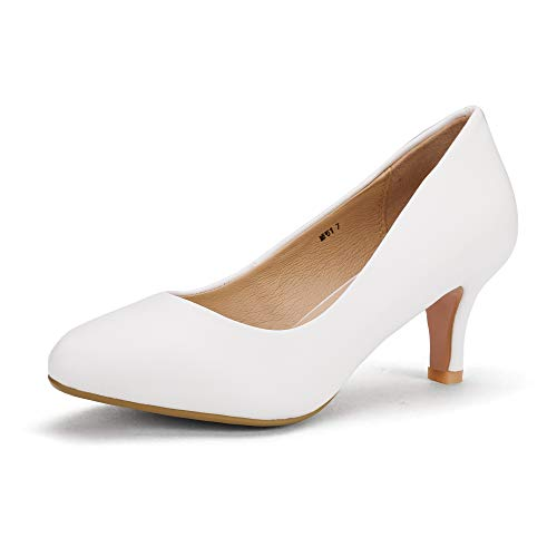IDIFU Women's RO2 Basic Round Toe Mid Heel Pump Shoes (White PU, 10 B(M) US)