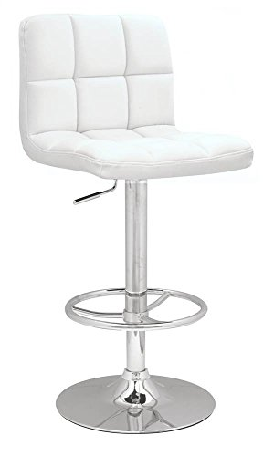 (Chintaly Imports Stitched Seat and Back Pneumatic Gas Lift Adjustable Height Swivel Stool, Chrome/White)