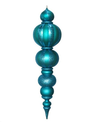 Queens of Christmas WL-FIN-48-AQ Plastic Oversized Shatterproof Finial Decorative Ornament, 48'', Aqua by Queens of Christmas
