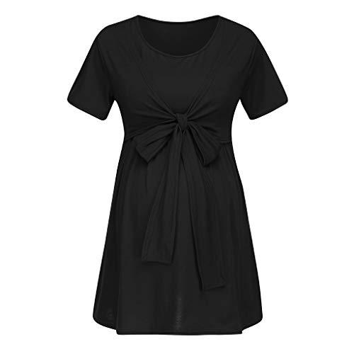 schön Pingtr - Damen Mutterschaft Kleid,Frauen Mutterschaft Schwangerschaft Bluse Still NachtwäSche Krawatte Stillen Tops Schwarz 4SjmUHlL