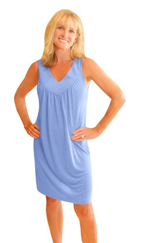 NEW WICKING GATHERED TANK NIGHTGOWN (S-XL) (Large(12/14), Periwinkle)