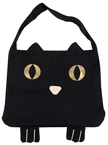 Juvale Canvas Tote Bag - Reusable Cotton Canvas Bag, Cat Party Gift Bag for Easter Egg Hunt, Black Cat with Gold Foil Eyes Design, 11.25 x 15.5 - Black Bags Cat Treat