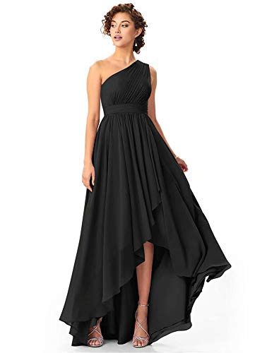 dongprom Women's One Shoulder High Low Bridesmaid Dress Long A Line Chiffon Formal Evening Gown