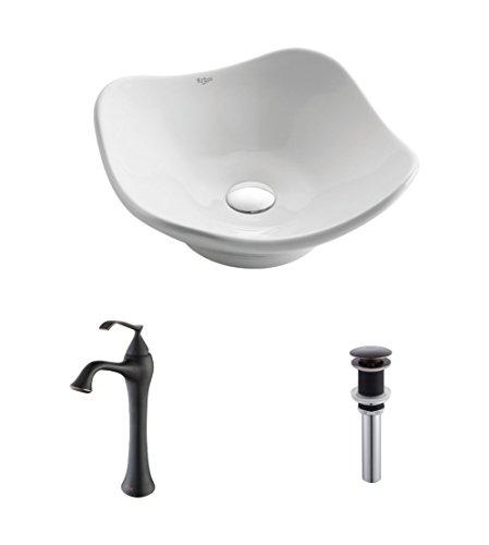 - Kraus C-KCV-135-15000ORB White Tulip Ceramic Sink and Ventus Faucet Oil Rubbed Bronze