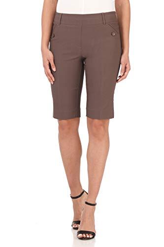Rekucci Women's Ease Into Comfort Modern Pull On Bermuda Short with Pockets (10,Mocha)
