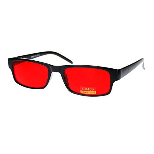 Black Rectangle Frame Red Lens Sunglasses Spring - Red Lens Sunglasses