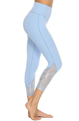 e891c5a2099107 JOYSPELS Womens Running Leggings Yoga Athletics Workout Pants High Waisted  Tummy Control Light Blue L