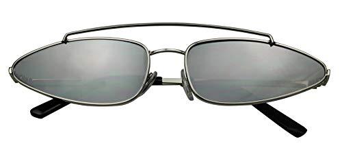 ShadyVEU Small Narrow 90's Metal Frame Tiny Wide Oval Cat Eye Crossbow Ultra Slim Sunglasses (Silver Frame/Mirror Silver Lens) (Slim Cat Eye Sonnenbrille)