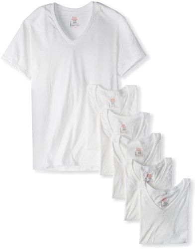 Hanes Ultimate Men's 6 Pack FreshIQ V-Neck Tee, White, Medium