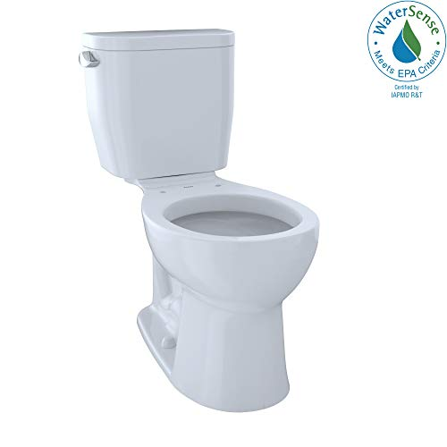 TOTO CST243EF#01 Entrada Two-Piece Round 1.28 GPF Universal Height Toilet, Cotton White