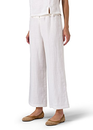 Vivid Linen Wide Ankle Length Cropped Pants-2X-Soft White