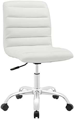Amazon Com Modway Ripple Ribbed Armless Mid Back Swivel Conference Office Chair In White Furniture Decor