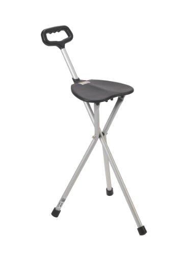 Drive Medical Deluxe Folding Cane Seat, Black - Folding Cane Stool