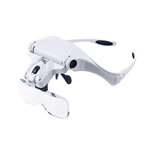 Qinhum Headband Magnifier Lighted Glass Optivisor with 5 Lens for Hobby Repair Reading