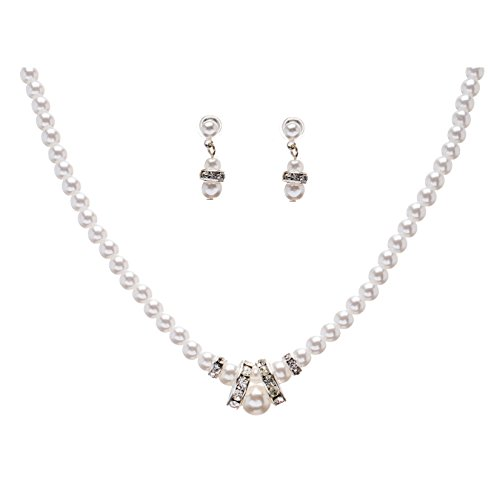 ACCESSORIESFOREVER Women Bridal Wedding Prom Fashion Jewelry Set Beautiful Single Strand Pearls Chic Necklace Silver