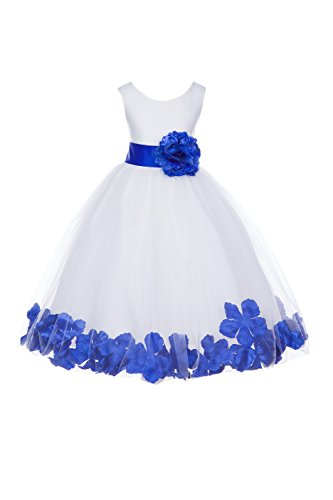 ekidsbridal White Floral Rose Petals Flower Girl Dress Birthday Girl Dress Junior Flower Girl Dresses 302s - White And Baby Dress Girl Blue