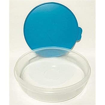 "Tupperware 12"" Round Pie and Baked Goods Carrier Food Storage Container with Airtight Seal in Cool Aqua Blue"