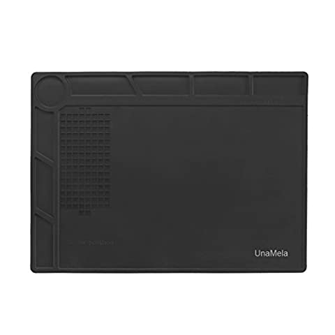 UnaMela Heat Insulation Repair Mat for Computer Phone Soldering Iron, Can Prevent Parts Loss and Well Protect the Maintenance Platform Black, Gift for (Screw Gun Parts)