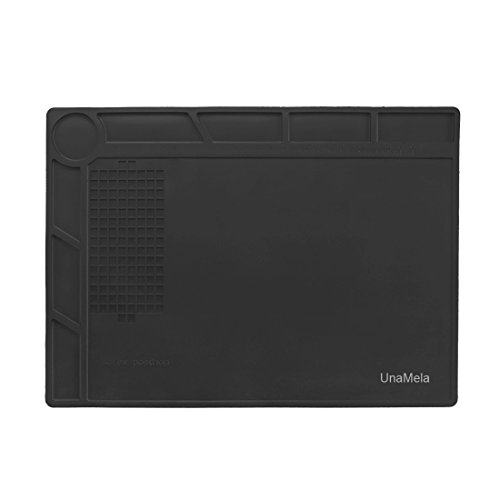 UnaMela Heat Insulation Repair Mat for Computer Phone Soldering Iron, Can Prevent Parts Loss and Well Protect the Maintenance Platform Black, Gift for Techie