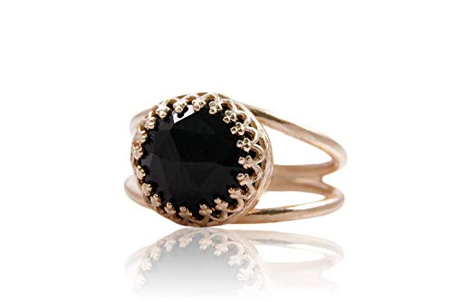 (Anemone Jewelry Onyx Gemstone Ring - Natural 10mm Black Onyx 14K Rose Gold Ring For Everyday Use - Made By Experienced & Talented Artisans)