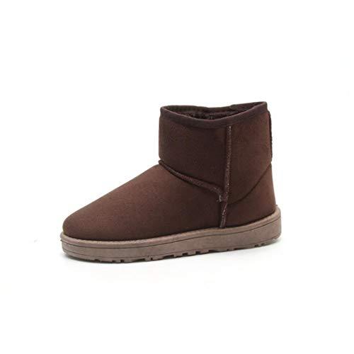 Et Glissement Bottes Mode Boots Casual Plates Neige Brown Sur Des Coorun Femme Hauteur Hiver Solides Cheville De 6WHABx