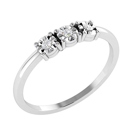 New Year Offers Luxury Diamond Infinity Ring For Women Natural Diamond Rings 10K White Gold Real Diamond Rings for Women 0.03 Carat I2-I3-HI Real Diamond Rings (Diamond Jewlery Gifts For Women) (Ring Anniversary Diamond Jewelry Gold)