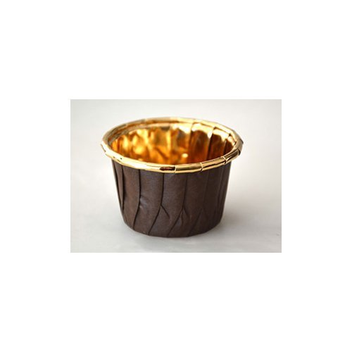 Novacart Paper Baking Cup Brown with Gold Film (4140, 2-1/8'' Base Diameter x 1-9/16'' High)