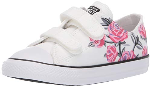 Converse Girls Infants' Chuck Taylor All Star 2V Low Top Sneaker, White/Racer Pink/Black 7 M US -