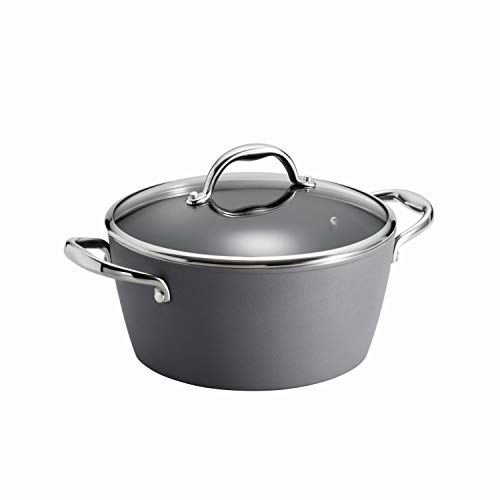 Exterior Cast Aluminum Dutch Oven - Tramontina 80110/224DS Gourmet Induction Aluminum Nonstick, Covered Dutch Oven Made in Italy, 5-Quart, Slate Gray
