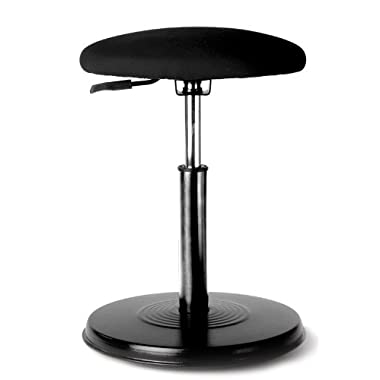 Kore Wobble Office Chair - Standing Desk Stool, Task Chair, Perfect for Active Sitting, Better than a Balance Ball for Office - Everyday - Black Leather-Like