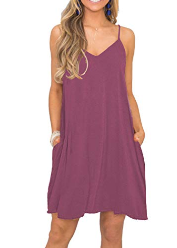 (MISFAY Women's Summer Spaghetti Strap Casual Swing Tank Beach Cover Up Dress with Pockets (S,)