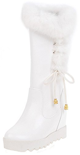 High Women's Bow Sweet Mid Pull Wedge Fur Toe Fluffy Boots Snow Round Splicing Heel Invisible on Mofri White Calf Platform vZdnxpv