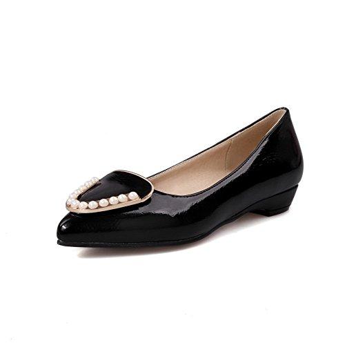 Amoonyfashion Damesslip Op Puntige Dichte Teen Lage Hakken Blend Materialen Stevige Pumps-schoenen Zwart