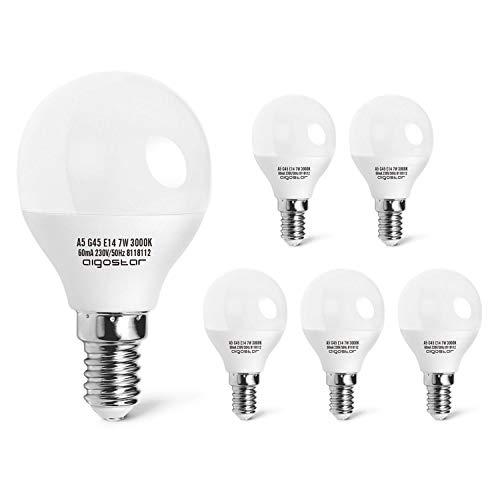 Ledlampen E14 7W, Warm Wit 3000K 520 Lumen, Niet Dimbare Globe LED Lamp E14, Verpakking van 5 Stuks