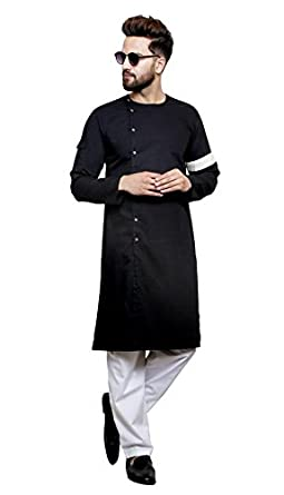 424e4a50 Color Opera Kreation Men's New Style Solid Black Straight Kurta ...