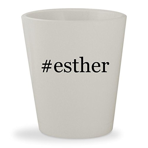 #esther - White Hashtag Ceramic 1.5oz Shot (Queen Esther Bible Costume)